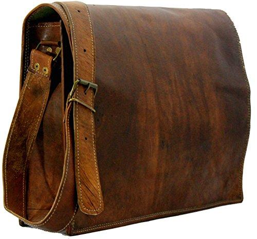 Leather Bags Now Unisex Cross Shoulder Full Flap Laptop Leather Messenger Bag Satchel Dark Brown image