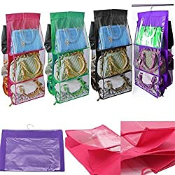 Rians Online 6 Pocket Large Clear Purse Handbag Hanging Storage Bag Organizer Closet Tidy Closet Organizer Wardrobe Rack Hangers Holder For Fashion Handbag Purse Pouch - Random Color