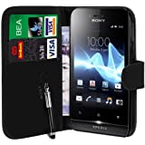 N4U Online Black PU Leather Wallet Case Cover & Retractable Pen for Sony Xperia Miro