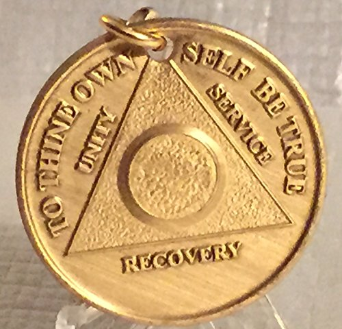 AA Medallion Keychain Alcoholics Anonymous Key Chain Plain Front Chip Bronze
