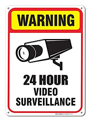24 Hour Video Surveillance Sign 7 x 10 .40 Aluminum sign