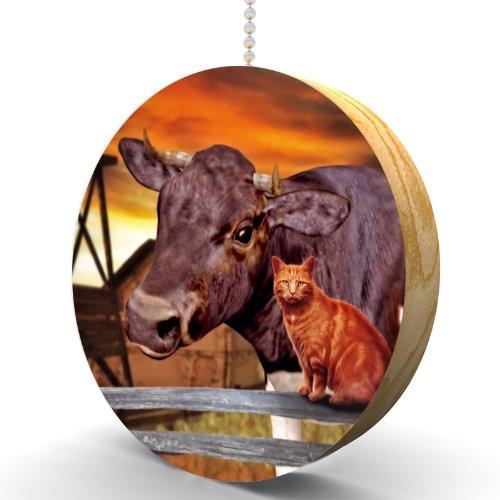 Cow And Cat Hardwood Oak Fan / Light Pull