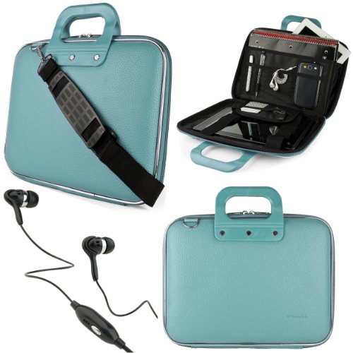 "Baby Blue Sumaclife Cady Bag Case W/ Shoulder Strap For Sony Xperia S 9.4"" Tablet + Black Vangoddy Headphones"
