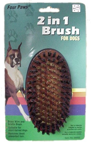 2 In 1 Oval Brush w/Brass Wire Ctr (Four Paws Wire Rake compare prices)