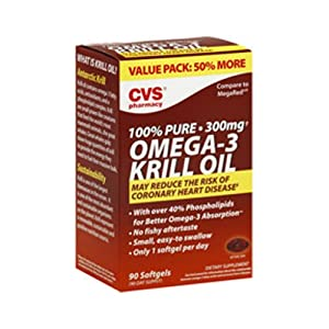 OMEGA-3 Krill Oil 100% Pure 300 mg by CVS, 90 Softgels