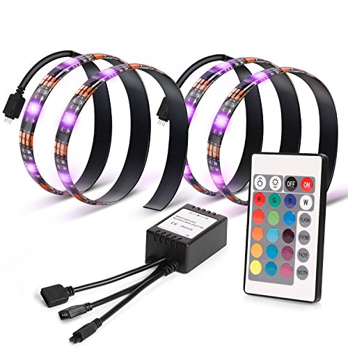 Vansky-Hintergrundbeleuchtung-Fernseher-RGB-TV-Beleuchtung-2x50cm-led-Lichtband-fr-TVMonitor-Beleuchtung-mit-Fernbedienung-Reduzieren-die-Ermdung-der-Augen-und-erhhen-Bildklarheit