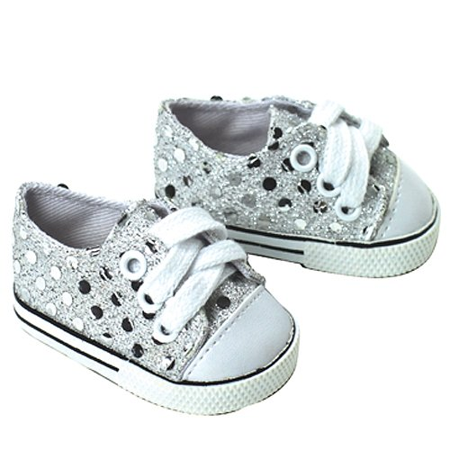 18 Inch Doll Sneakers. Silver Glitter Doll Sneakers Shoes Fit 18 Inch American Girl Dolls & More! Silver Glitter Sneakers Perfect for Doll Clothes for 18 Inch Dolls - 1