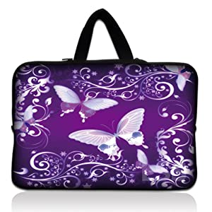"""Laptop Skin Shop 13.3 inch Laptop Sleeve Bag Carrying Case Pouch with Hidden Handle for 13.3"""" 13"""" 12.1"""" 12"""" Apple Macbook, GW, Acer, Asus, Dell, Hp, Sony, Toshiba, Purple Butterfly"""
