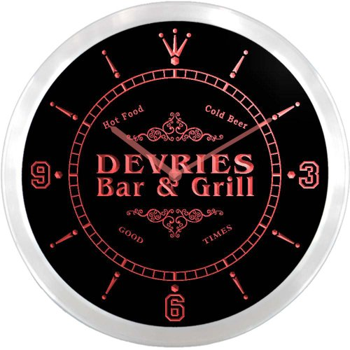 ncu11303-r-devries-family-name-bar-grill-cold-beer-neon-sign-led-wall-clock
