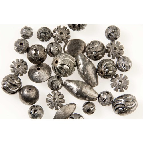 Copper Dipped in Sterling Silver with Black Polish Bali Style Bead Assortment - 2 Ounce Mix