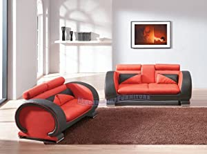ultra modern red passion love seat   Amazon.com: Ultra Modern Red and Black Leather Sofa and ...