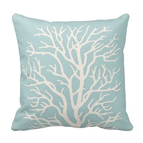 Coral Tree In White On Sea Glass Blue Throw Pillow Case 18*18