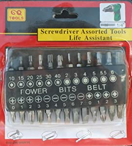 Screwdriver Assorted Bit Set - 25 Bit Set 1/4""