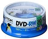 【Amazon.co.jp限定】TDK 録画用DVD-RW 繰り返し録画用 デジタル放送録画対応(CPRM) 1-2倍速 ホワイトワイドプリンタブル 30枚スピンドル ATDRW-120DPWA30PZ