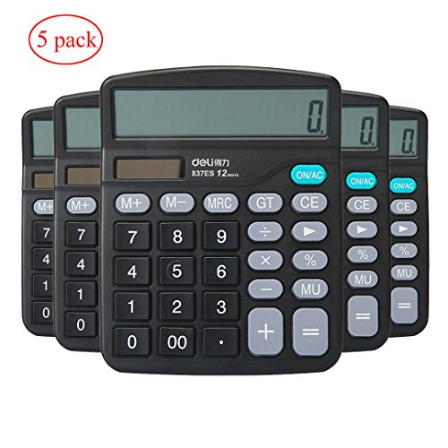Civetta Office Desktop Calculator 12 Digits Large Plastic Buttons Dual Power Solar Electronic Calculator Black(Pack of 5)