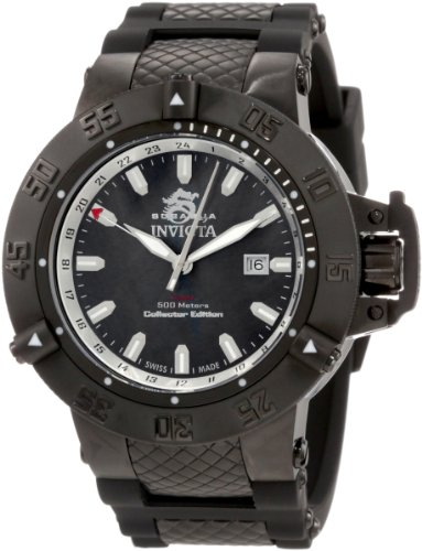 Invicta Subaqua Men's Quartz Watch with Black Dial  Analogue display on Black Plastic Strap 0736