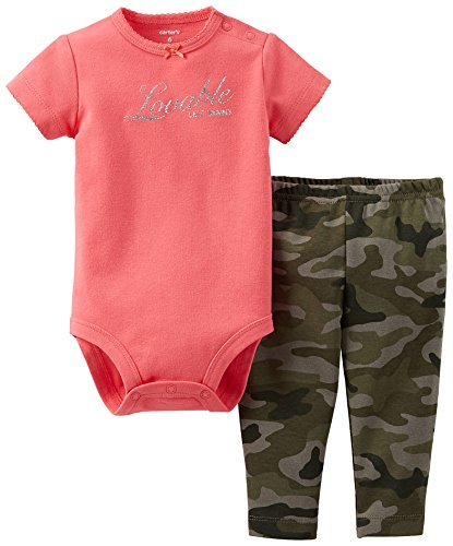 Carters Girls Baby Lovable Like Mommy Legging Set 6 Month Pink/Camo front-1022248