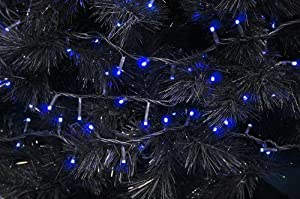 BLUE - 100x Add-a-Long LED STRING - Indoor/Outdoor Christmas Tree Lights - Black Wire ...
