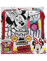 Shopaholic Minnie Mouse Featured Bag Pack For Kids Along With Coloring Pens To Color Thier Own Bagpacks