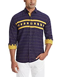 Dennison Men's Casual Shirt (SS-16-412_40_Yellow and Blue)
