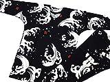 【大荒波・黒】 義若オリジナルの鯉口シャツと股引きの上下セット (M 中サイズ) 男女兼用