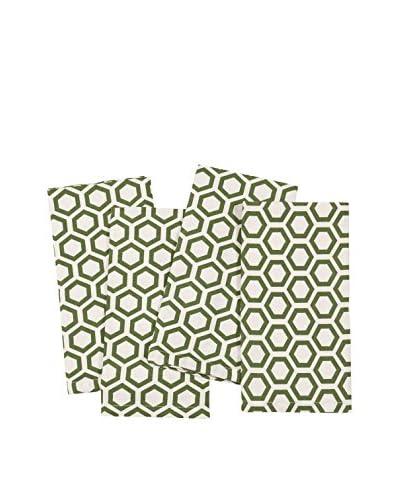 KAF Home Set of 4 Hexagon Napkins, Cactus Green