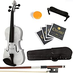 Mendini 3/4 MV-White Solid Wood Violin with Hard Case, Shoulder Rest, Bow, Rosin and Extra Strings
