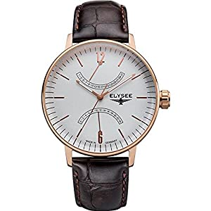 ELYSEE Men's Sithon 42mm Brown Leather Band Rose Gold Plated Case Quartz Grey Dial Analog Watch 13290