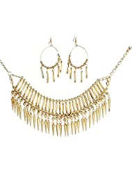 Urthn Gold Plated Jewellery Set For Women (Golden) (1105605)