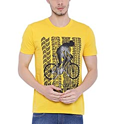 Wolfpack Men Outdoor Fitness Yellow Cotton T Shirts - Half Sleeves - Round Neck - Feel Free and Ride