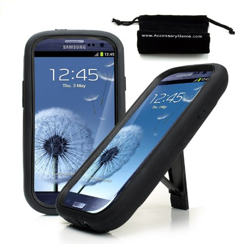 Rugged Dual Layer Impact-Absorbing Case With Built-In Kickstand for Verizon , Sprint , AT&T , and T-Mobile Samsung Galaxy S III / SIII / S3 / S 3 / i9500 ** Includes Accessory Genie Drawstring Bag! **