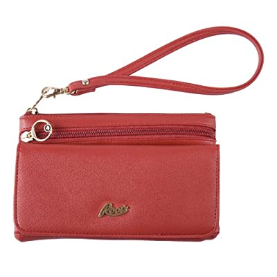 Roots - Ladies' Slim Clutch With Removable Wristlet Pu Leather - Red