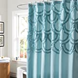Lush Decor Chic Shower Curtain, 72 by 72-Inch, Spa Blue