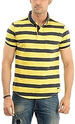 Lead & Ride Men's Polo Neck T-Shirt (319 yellow_medium, Yellow, Medium)