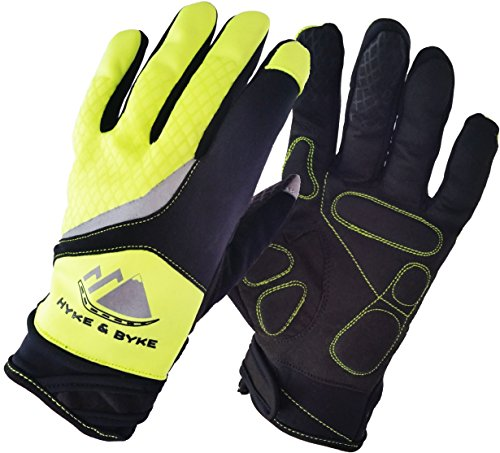 Hi-Vis Touchscreen Full Finger Gel Padded Cycling Gloves, Great for Road and Mountain Biking, Running, Jogging, Bike Riding, Driving, and Camping