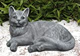 Steinfigur Katze liegend groß Steinguss Schiefergrau