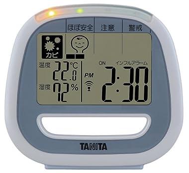 【季節性インフルエンザ予防にも】 TANITA デジタル温湿度計 (室内用 / 置き式) ブルー TT-549-BL