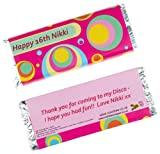 Personalised Chocolate Bars - Pink Psychedelic design - (10 bars)