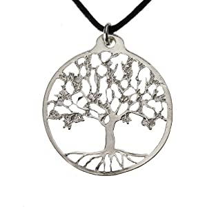 Small Tree of Life Silver-dipped Pendant Necklace on Adjustable Natural Fiber Cord