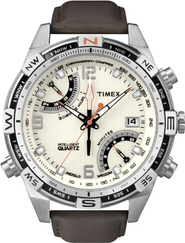 Timex Men's T49866 Intelligent Quartz Fly Back Chrono Compass Brown Leather Strap Watch