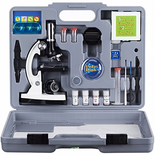AMSCOPE-KIDS-M30-ABS-KT2-W-Beginner-Microscope-Kit-LED-and-Mirror-Illumination-300X-600x-and-1200x-Magnification-Includes-52-Piece-Accessory-Set-and-Case-White