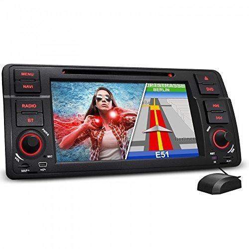 """XOMAX XM-BMW-E46 Autoradio BMW Moniceiver / Naviceiver con navigatore GPS + NAVI software (2014) con carte europee incluse (50 Paesi) + Vivavoce Bluetooth con possibilità di importare rubrica + Display touch screen 7"""" / 18 cm con risoluzione 16:9 HD (800 x 480 Pixel) + Lettore DVD / CD senza codici + Porta USB (fino 128 GB!) + Slot Micro SD (fino 128 GB!) + Intrattenimento multimediale: MPEG4, MP3, WMA, AVI, DivX etc. + Collegamento per Subwoofer, telecamera posteriore e & comandi sul volante + Telecoman"""