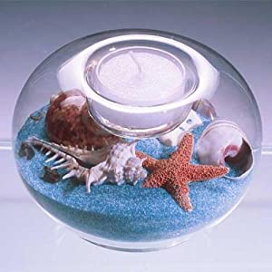 Sand & Shell Tealight Candleholder 4-inch Diameter. Seabreeze (White/blue Mix) Sand.