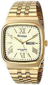 Armitron Men's 20/4968CHGP Cushion Shaped Day/Date Gold-Tone Expansion Bracelet Watch