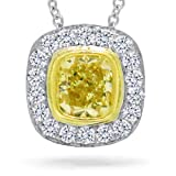 0.66ct 14k Two-tone Gold Cushion Cut Natural Fancy Yellow Diamond Pendant Necklace thumbnail