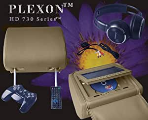 "Plexon™ - Headrest DVD Player with 7"" LCD Monitor / Game System Disk / Wireless IR Headphones and Game Controllers (Sold As 1 Each) - 1 Beige/Tan Color Headrest with Accessories"