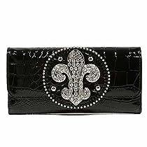 Luxury Divas Black Croco Textured Rhinestone Fleur De Lis Wallet