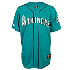 Seattle Mariners Throwback Vintage Blue Majestic Jersey by Majestic