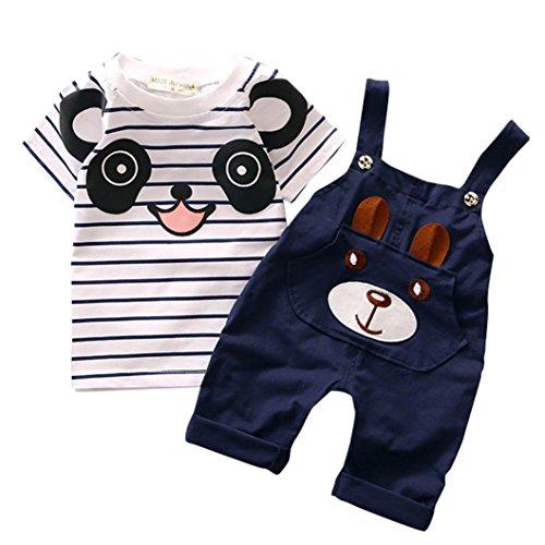Toddler Baby Set ragazzo piccolo orso manica corta Set di striping (0-1 anni, Marina Militare)