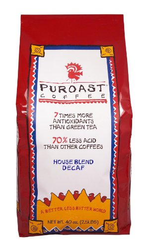 Puroast Low Acid Coffee House Blend Natural Decaf Whole Bean, 2.5-Pound Bag